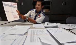 Ketua P3I, Mustofa saat memaparkan DPS Fiktif di Panwaslu DKI Jakarta