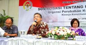 Senator DKI Jakarta, Dani Anwar saat mensosialisasikan pentingnya Penguatan Kelembagaan DPD RI melalui Perubahan Kelima UUD 1945