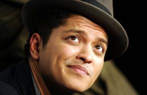 Singer Bruno Mars poses in the press roo