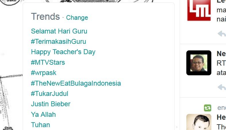 Hari Guru Nasional, Hastag #TerimaKasihGuru Jadi Trending Topic