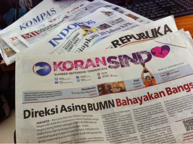 Headline Harian Nasional 22 Desember 2014