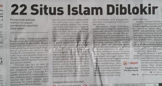 Blokir Situs Media Islam, Pemerintah Dinilai Langgar UU Pers