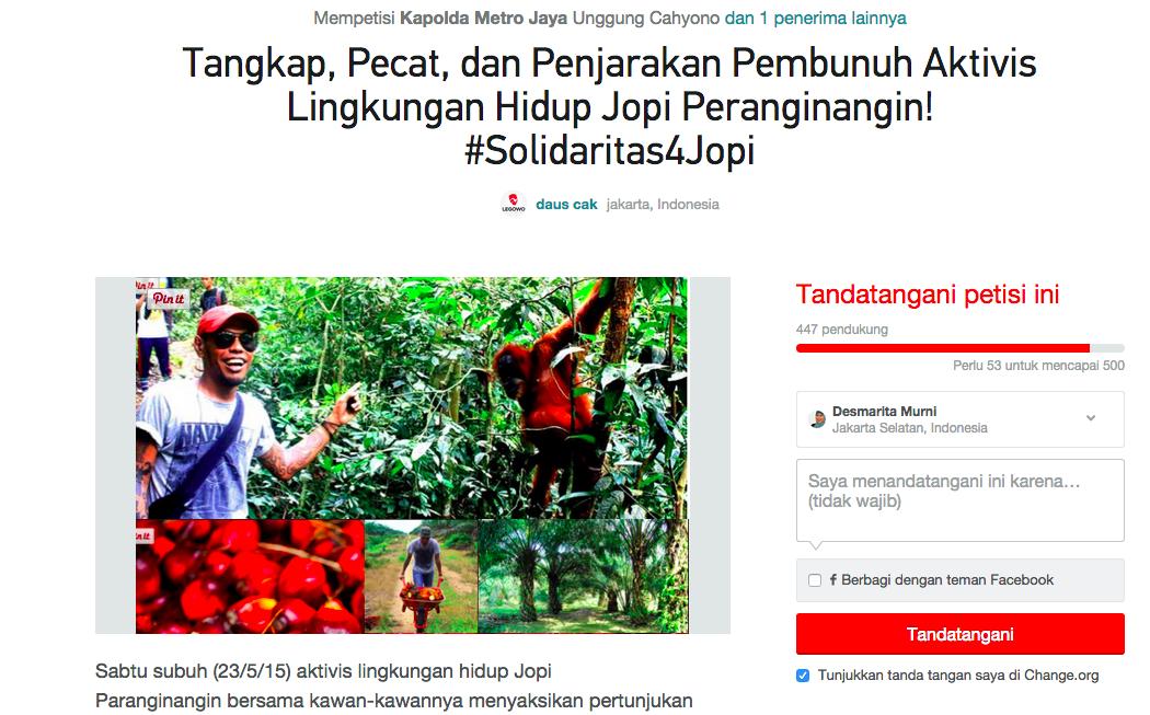 Sahabat Jopi Peranginangin Galang Solidaritas Publik Lewat Petisi