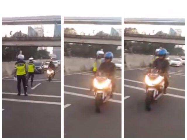 Motor Besar Lewat JLNT, Polisi Lakukan Sikap Berbeda Tidak Menilang