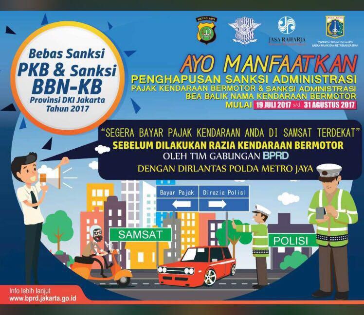19 Juli-31 Agustus 2017 Warga Jakarta Bebas Denda Pajak dan BBN-KB, Lewat Tanggal Itu Harus Bayar Normal Berikut Dendanya