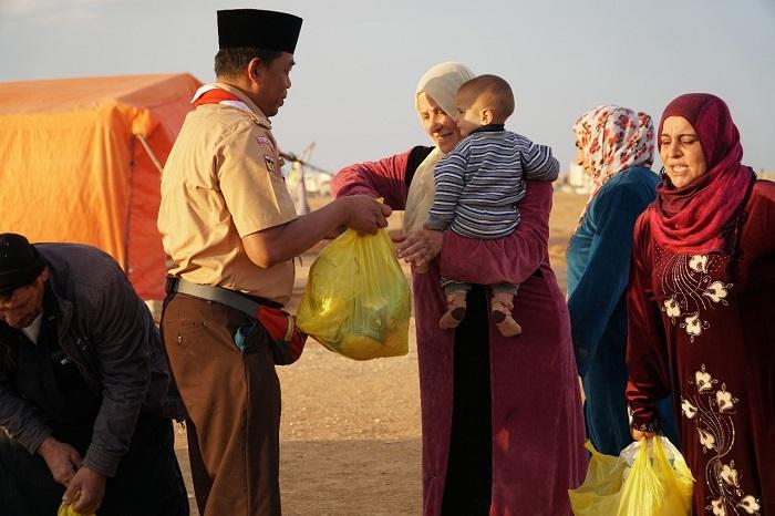 Masuk Musim Dingin, Pramuka Salurkan Bantuan untuk Pengungsi Palestina dan Suriah di Yordania
