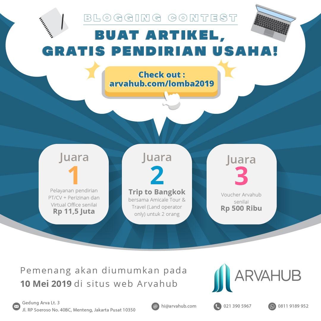 Dukung Youth Enterpreunership, Arvahub Adakan Lomba Menulis Blog 2019