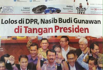 Headline Harian Nasional 15 Januari 2015, Nasib Budi Gunawan di Tangan Presiden