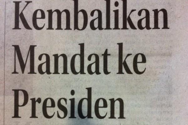 Headline Harian Nasional 6 Februari 2015, Kembalikan Mandat ke Presiden