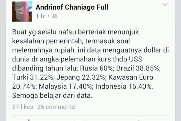 Kinerja Ekonomi Memburuk, Menteri Bappenas Curhat di Facebook